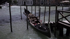 WS LD Empty Gondola Moored to Dock / Venice, Italy Stock Footage