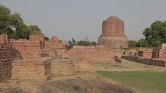 WS Stupas where Buddha chose to deliver his first sermons / Sarnath, India Stock Footage