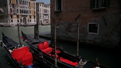 WS LD Moored Gondolas on Grand Canal / Venice, Italy Stock Footage