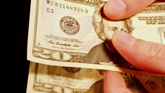 Counting money cash dollars bills in hands. Stock Footage