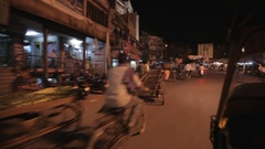 POV WS Busy Road from Inside of Motor Trishaw / India Stock Footage