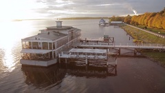 Aerial view of the old ancient river station, Wharf and Volga river in Kostroma Stock Footage