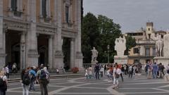 Marco Aurelio Statue, Piazza del Campidoglio, Rome, Lazio, Italy, Europe Stock Footage