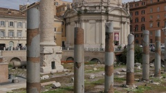 Trajan's Column & Chiesa SS Nome di Maria on Via dei Fori Imperiali, Rome, Stock Footage