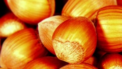 Looped: pile of shelled hazelnuts spinning slowly Stock Footage