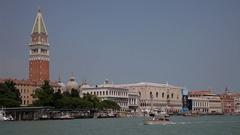 WS LD Boats Going by San Giorgio Maggiore / Venice, Italy Stock Footage