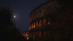 MH LD Coliseum Exterior with Moon / Rome, Italy Stock Footage