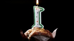 Cupcake with number one. birthday greetings Stock Footage