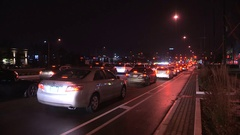 Gridlock traffic jam on city streets during evening rush hour Stock Footage