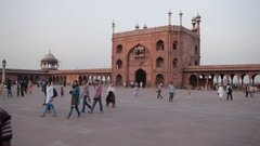 WS LD People Walking in front of Jama Masjid Mosque / India Stock Footage