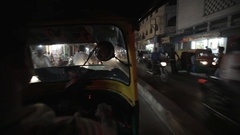 POV WS Busy Road from Inside of Motor Trishaw / Varanasi, India Stock Footage