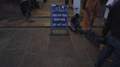 WS LD Sign Asking to Take Off Shoes in front of Mosque / Jama Masjid Mosque, Stock Footage