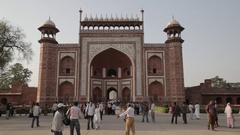 WS Crowds in front of Great Gateway to Taj Mahal / Agra, India Stock Footage