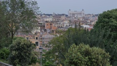 Altare della Patria (alter of the Fatherland) & Rome from Park Borghese, Rome, Stock Footage