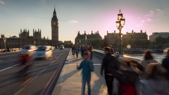 Westminster Bridge & Big Ben Clock Tower Time Lapse, London, England, UK, Europe Stock Footage