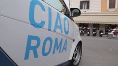 Ciao Roma on small car, Rome, Lazio, Italy, Europe Stock Footage