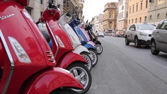 Traditional Mopeds on Rome street, Rome, Lazio, Italy, Europe Stock Footage