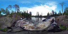 360/VR Waterfall in Karelia Stock Footage