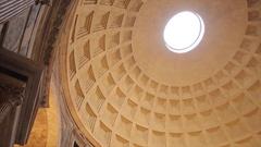 Interior of The Pantheon, Piazza Della Rotonda and Rome, Lazio, Italy, Europe Stock Footage