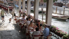 WS LD People Dining by Side of Canal / Venice, Italy Stock Footage