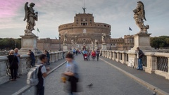 Time Lapse, Ponte Sant Angelo and Castel Sant Angelo, Rome, Lazio, Italy, Europe Stock Footage