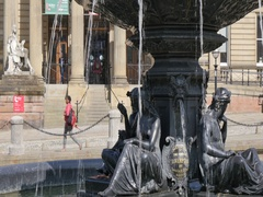 Fountain at The Walker Art Gallery, Liverpool, Merseyside, Lancashire, England, Stock Footage