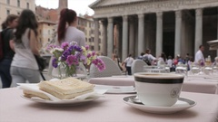 Cafe in Piazza Della Rotonda and The Pantheon, Rome, Lazio, Italy, Europe Stock Footage