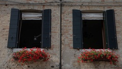 MH LA LD Windows with Flower Boxes / Venice, Italy Stock Footage