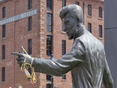 Billy Fury Statue at Albert Dock, Liverpool, Merseyside, Lancashire, England, Stock Footage