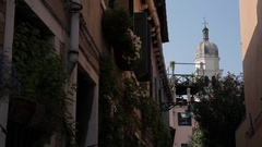 MH LA LD Courtyard with Church Tower in Background / Venice, Italy Stock Footage
