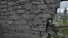 WS PAN Ruins of Ancient Cemetery / Ireland Stock Footage