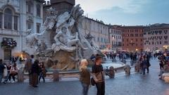 Time Lapse, Fiumi Fountain in Piazza Navona, Rome, Lazio, Italy, Europe Stock Footage