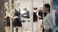 Beautiful woman shopping sexy lingerie bra and underwear in mall center Stock Footage