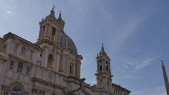 Sant'Agnese in Agone in Piazza Navona, Rome, Lazio, Italy, Europe Stock Footage