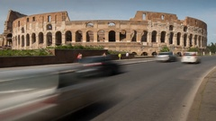 Time Lapse, Traffic near The Colosseum, Rome, Lazio, Italy, Europe Stock Footage