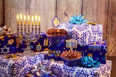 Jewish holiday Hanukkah still life composed of elements the Chanukah  festival Stock Photos