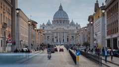 Time Lapse, St Peter's Cathedral, Vatican City, Rome, Lazio, Italy, Europe Stock Footage