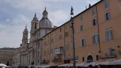 Fontana del Nettuno in Piazza Navona, Rome, Lazio, Italy, Europe Stock Footage