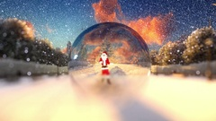 Santa Claus dancing in a glass globe, snowing, holiday bg Stock Footage