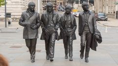 Beatles Statue Time Lapse, Liverpool, Merseyside, Lancashire, England, UK, Stock Footage