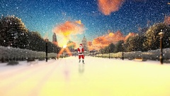 Santa Claus Dancing on a park alley, winter holidays background Stock Footage