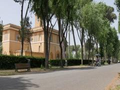 Cycling near Piazza di Siena, Park Borghese, Rome, Lazio, Italy, Europe Stock Footage