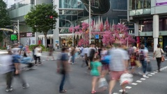 Christmas Decorations on Orchard Road Time Lapse, Singapore, South Asia, Asia Stock Footage