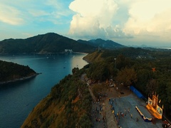 Aerial: Birds-eye view. Promthep Cape. Naiharn Beach. Stock Footage