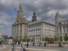 Pan from Royal Liver Building to Ferry Terminal, Liverpool, Merseyside, Stock Footage