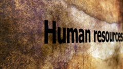Human resources text on grunge background Stock Footage