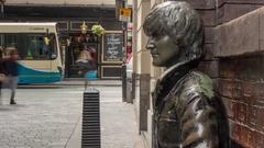 John Lennon Statue Time Lapse, Liverpool, Merseyside, Lancashire, England, UK, Stock Footage