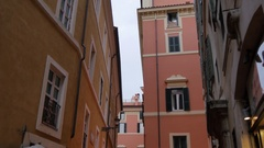 Restaurants on backstreet, Rome, Lazio, Italy, Europe Stock Footage