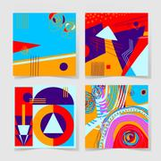Set of 4 posters with abstract trendy pattern background Stock Illustration