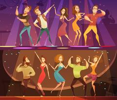 Night Club Disco Dance  Banners Set Stock Illustration